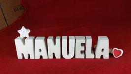Beton, Steinguss Buchstaben 3D Deko Namen MANUELA als Geschenk verpackt mit Stern und Herzklammer!