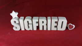 Beton, Steinguss Buchstaben 3D Deko Namen SIGFRIED als Geschenk verpackt!