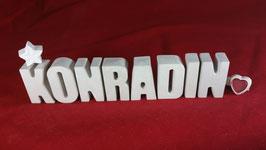 Beton, Steinguss Buchstaben 3D Deko Namen KONRADIN als Geschenk verpackt!