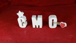 Beton, Steinguss Buchstaben 3D Deko Stern Schriftzug C M C als Geschenk verpackt!