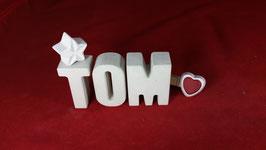 Beton, Steinguss Buchstaben 3D Deko Namen TOM als Geschenk verpackt!