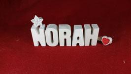 Beton, Steinguss Buchstaben 3D Deko Namen NORAH als Geschenk verpackt mit Stern und Herzklammer!