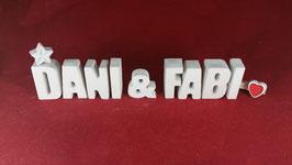 Beton, Steinguss Buchstaben 3D Deko Stern Namen DANI & FABI als Geschenk verpackt!