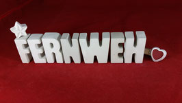 Beton, Steinguss Buchstaben 3D Deko Stern Namen FERNWEH als Geschenk verpackt!