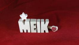 Beton, Steinguss Buchstaben 3D Deko Namen MEIK als Geschenk verpackt!
