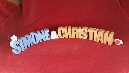 Beton, Steinguss Buchstaben 3D Deko Stern Namen SIMONE in Blau & CHRISTIAN in Orange als Geschenk verpackt!
