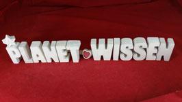 Beton, Steinguss Buchstaben 3D Deko Stern Schriftzug PLANET WISSEN als Geschenk verpackt!