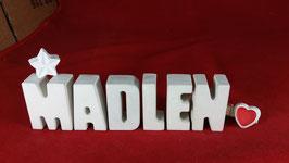 Beton, Steinguss Buchstaben 3D Deko Namen MADLEN als Geschenk verpackt mit Stern und Herzklammer!
