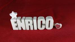 Beton, Steinguss Buchstaben 3D Deko Namen ENRICO als Geschenk verpackt!