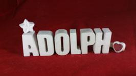 Beton, Steinguss Buchstaben 3D Deko Namen ADOLPH als Geschenk verpackt!