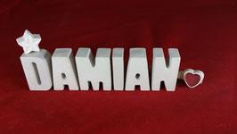 Beton, Steinguss Buchstaben 3D Deko Namen DAMIAN als Geschenk verpackt!