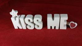 Beton, Steinguss Buchstaben 3D Deko Stern Namen KISS ME als Geschenk verpackt!