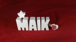 Beton, Steinguss Buchstaben 3D Deko Namen MAIK als Geschenk verpackt!