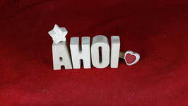 Beton, Steinguss Buchstaben 3D Deko Stern Namen AHOI als Geschenk verpackt!