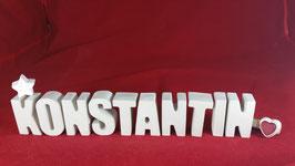 Beton, Steinguss Buchstaben 3D Deko Namen KONSTANTIN als Geschenk verpackt!