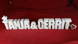 Beton, Steinguss Buchstaben 3D Deko Stern Namen TANJA & GERRIT als Geschenk verpackt!