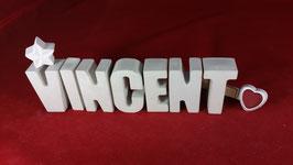 Beton, Steinguss Buchstaben 3D Deko Namen VINCENT als Geschenk verpackt!