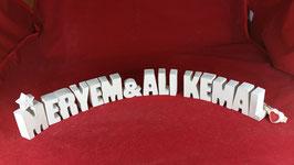 Beton, Steinguss Buchstaben 3D Deko Stern Namen MERYEM & ALI KEMAL als Geschenk verpackt!
