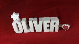 Beton, Steinguss Buchstaben 3D Deko Namen OLIVER als Geschenk verpackt!