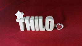 Beton, Steinguss Buchstaben 3D Deko Namen THILO als Geschenk verpackt!