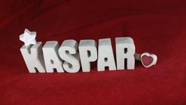 Beton, Steinguss Buchstaben 3D Deko Namen KASPAR als Geschenk verpackt!