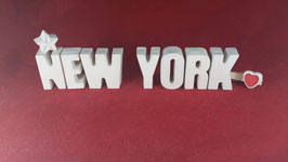 Beton, Steinguss Buchstaben 3D Deko Stern Namen NEW YORK als Geschenk verpackt!