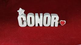 Beton, Steinguss Buchstaben 3D Deko Namen CONOR als Geschenk verpackt!