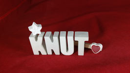 Beton, Steinguss Buchstaben 3D Deko Namen KNUT als Geschenk verpackt!