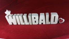 Beton, Steinguss Buchstaben 3D Deko Namen WILLIBALD als Geschenk verpackt!