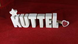 Beton, Steinguss Buchstaben 3D Deko Stern Namen KUTTEL als Geschenk verpackt!