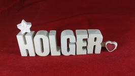 Beton, Steinguss Buchstaben 3D Deko Namen HOLGER als Geschenk verpackt!
