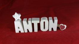 Beton, Steinguss Buchstaben 3D Deko Namen ANTON als Geschenk verpackt!