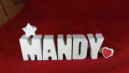 Beton, Steinguss Buchstaben 3D Deko Namen MANDY als Geschenk verpackt mit Stern und Herzklammer!