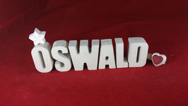 Beton, Steinguss Buchstaben 3D Deko Namen OSWALD als Geschenk verpackt!