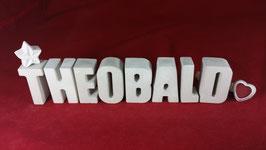 Beton, Steinguss Buchstaben 3D Deko Namen THEOBALD als Geschenk verpackt!