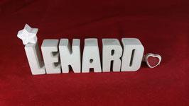 Beton, Steinguss Buchstaben 3D Deko Namen LENARD als Geschenk verpackt!