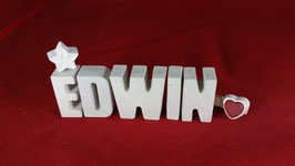Beton, Steinguss Buchstaben 3D Deko Namen EDWIN als Geschenk verpackt!