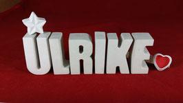 Beton, Steinguss Buchstaben 3D Deko Namen ULRIKE als Geschenk verpackt mit Stern und Herzklammer!