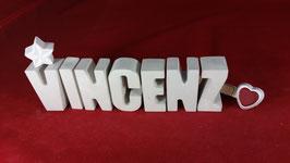 Beton, Steinguss Buchstaben 3D Deko Namen VINCENZ als Geschenk verpackt!