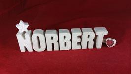 Beton, Steinguss Buchstaben 3D Deko Namen NORBERT als Geschenk verpackt!