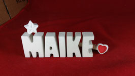 Beton, Steinguss Buchstaben 3D Deko Namen MAIKE als Geschenk verpackt mit Stern und Herzklammer!