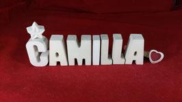 Beton, Steinguss Buchstaben 3D Deko Namen CAMILLA als Geschenk verpackt!
