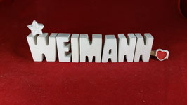 Beton, Steinguss Buchstaben 3D Deko Stern Schriftzug Name WEIMANN als Geschenk verpackt!