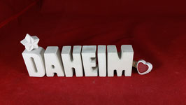 Beton, Steinguss Buchstaben 3D Deko Stern Namen DAHEIM als Geschenk verpackt!