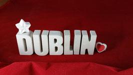 Beton, Steinguss Buchstaben 3D Deko Stern Namen DUBLIN als Geschenk verpackt!
