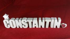 Beton, Steinguss Buchstaben 3D Deko Namen CONSTANTIN als Geschenk verpackt!