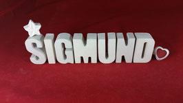 Beton, Steinguss Buchstaben 3D Deko Namen SIGMUND als Geschenk verpackt!