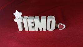 Beton, Steinguss Buchstaben 3D Deko Namen TIEMO als Geschenk verpackt!
