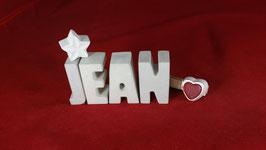 Beton, Steinguss Buchstaben 3D Deko Namen JEAN als Geschenk verpackt!