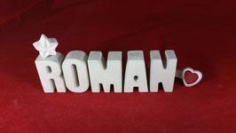 Beton, Steinguss Buchstaben 3D Deko Namen ROMAN als Geschenk verpackt!